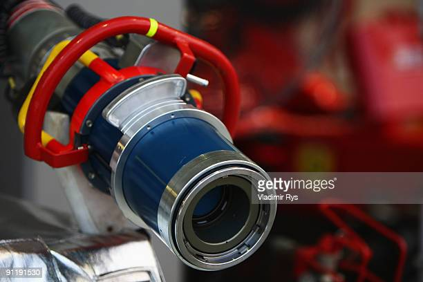 Refuelling details in the Ferrari garage during the Singapore Formula One Grand Prix at the Marina Bay Street Circuit on September 27 2009 in...