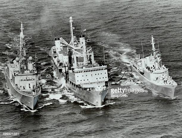 Refuelling on the run two destroyers and a supply ship make a fiveday patrol of the North Atlantic fisheries For the navy the exercise was a welcome...
