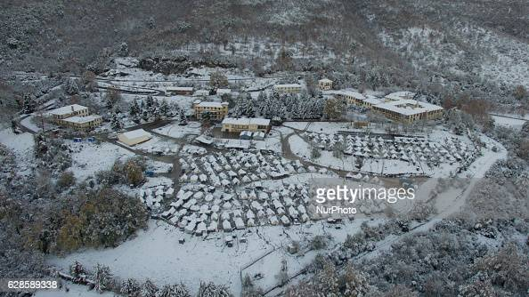 Refugee camp on Olympus mountain Greece under heavy snowfall The living conditions becomes worst day by day as the weather deteriorates in Greece due...
