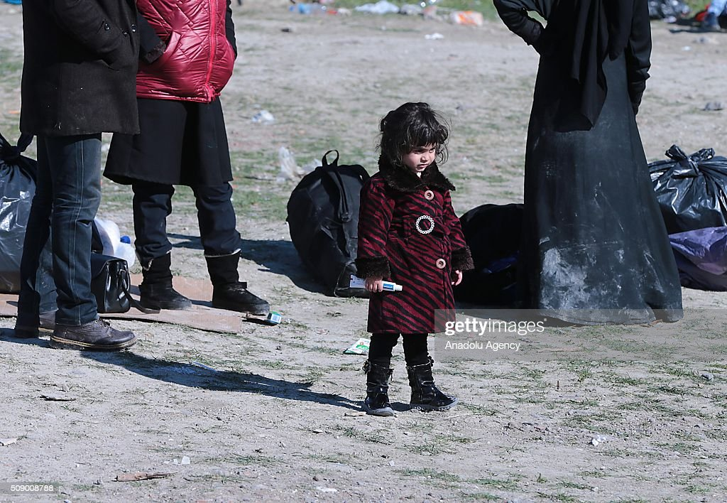 Refugee child is seen on the coast as Turkish gendarmerie captures around 700 refugees, who were trying to reach Lesbos Island of Greece, in operations conducted at 3 different bays, namely Pissa, Bahceli and Candarli, in Dikili district of Izmir, Turkey on February 8, 2016.