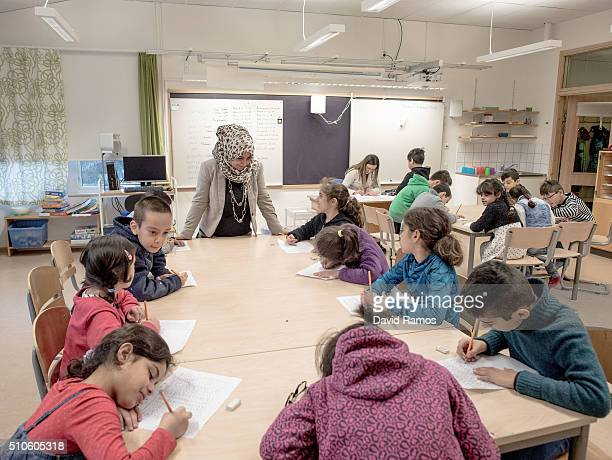 Refugee children are seen in a school on February 8 2016 in Halmstad Sweden Last year Sweden received 162877 asylum applications more than any...
