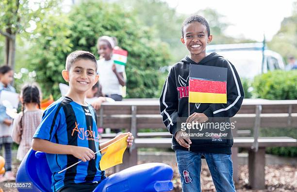Refugee children waiting for the DFB delegation at the refugee camp egelsbach on September 9 2015 in Egelsbach Germany