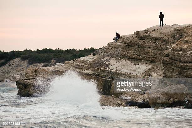 A refugee man is seen at a shore in Ciftlikkoy neighborhood of Cesme district of Izmir Turkey on December 17 2015 Refugees who begin a journey with a...