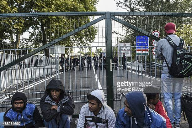 A refugee man stands looking through the fence at the Serbian border with Hungary near the town of Horgos on September 15 2015 Hungarian police...