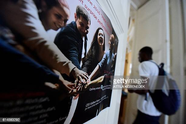A refugee student arrives at the Central European University in Budapest on their first day of study on September 17 2016 CEU is a graduate...