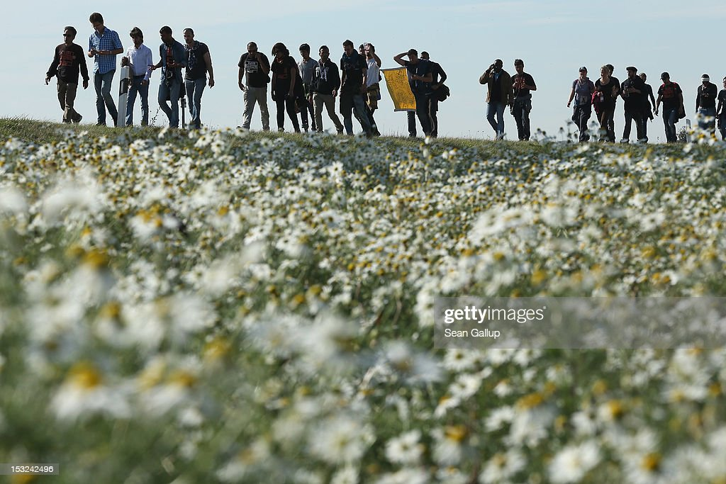 Refugees and supporters walk along a country road past a field of flowers during their protest march across nearly 600km from Wuerzburg to Berlin on October 2, 2012 near Bad Belzig, Germany. Approximately 25 refugees who are seeking political asylum are marching to protest the conditions under which they live in Germany. Asylum seekers in Germany are by law prohibited from working and their ability to travel is very restricted. The group expects to arrive in Berlin on October 6.