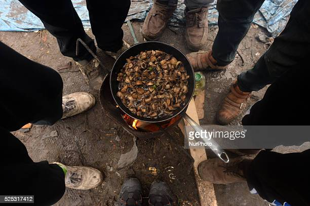 Refugees are cooking a mashrooms dish inside the Jungle camp three days before the Christmas Calais France on Monday 21 December 2015