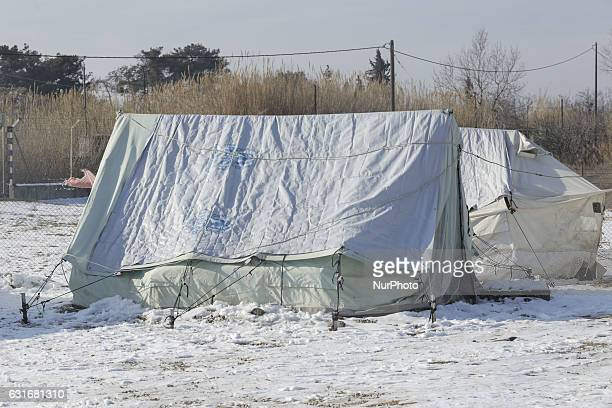 Refugees are recovering from the heavy winter conditions in Greece They are trying to get back to normal life in the camp in Thessaloniki on 14...