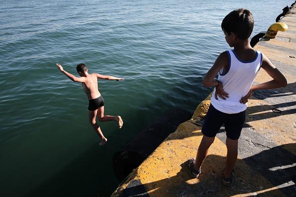 Refugees at Greece's Piraeus port
