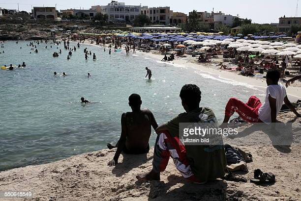 Refugees at the beach of Lampedusa Thousands of refugees from Africa every year often unseaworthy vessels reach the Italian island of Lampedusa...