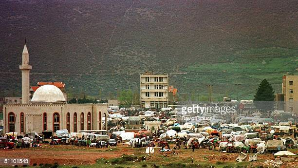 Refugees Crowd The Main Square In Kukes Next To The Mosque Friday April 9 1999 Over 250000 Refugees Have Fled Serbian Ethnic Cleansing In Kosovo And...