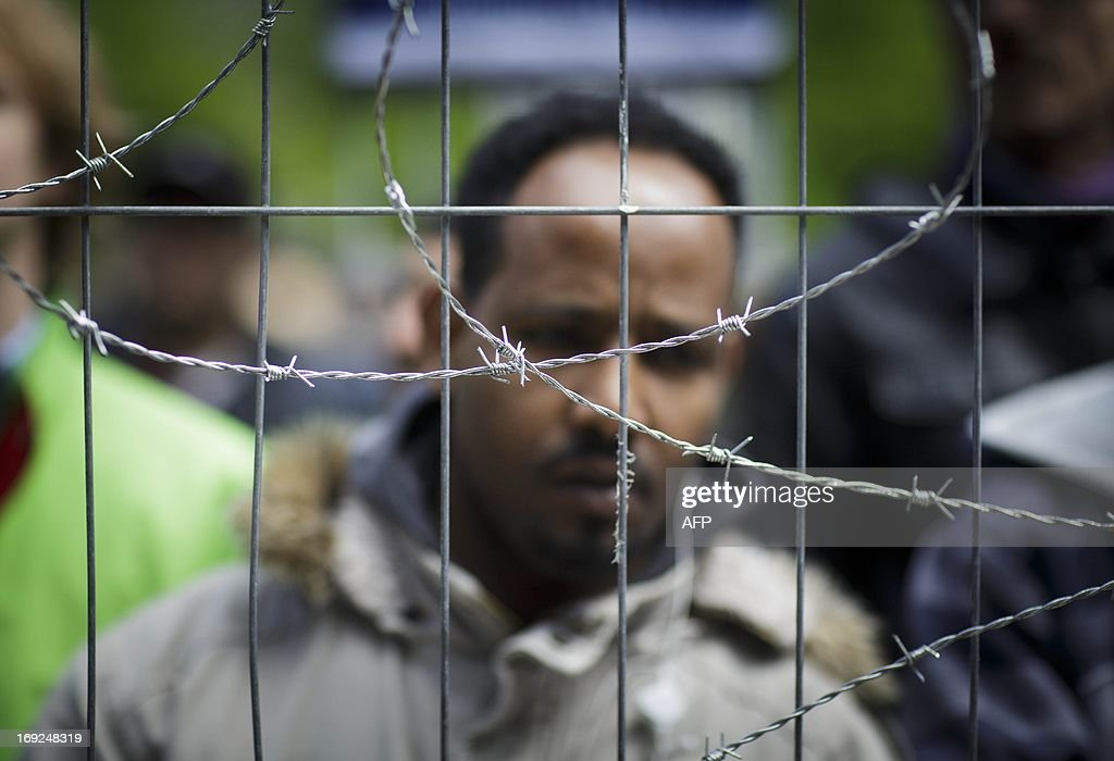 Refugees demonstrate against Dutch immigration policy on het Plein in The Hague, The Netherlands on May 2013. The refugees protest during the debate on the immigration policy in the Senate (Tweede Kamer) at the Binnenho AFP PHOTO/ PHIL NIJHUIS Phil Nijhuis netherlands out