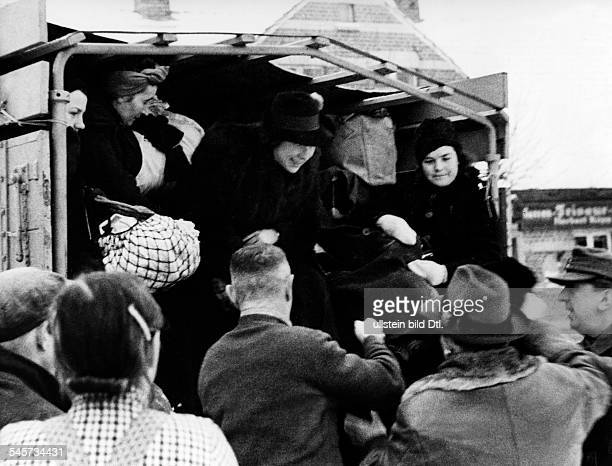 Refugees / evacuated women from the eastern parts of Germany on a truck in a village of Lusatia January / February 1945