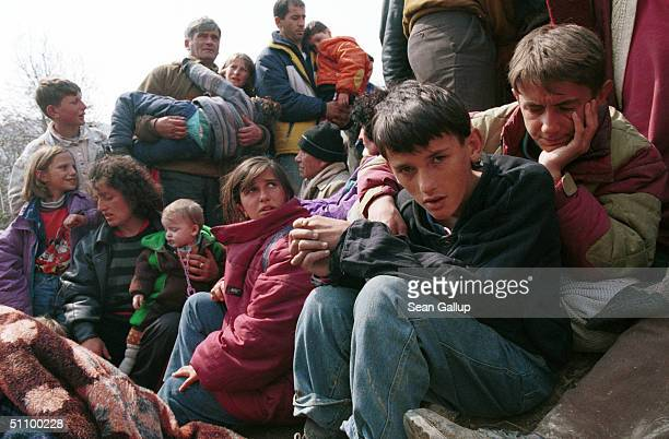Refugees From Kosovo Wait To Leave The Open Fields At Blace Macedonia April 5 Where An Estimated 40000 Kosovo Albanian Refugees Have Massed After...