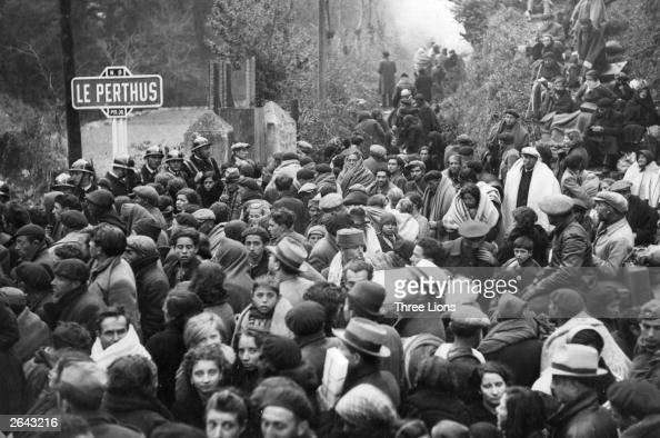 Refugees from the Spanish Civil War crowd the roads to Perpignan at Le Perthus France