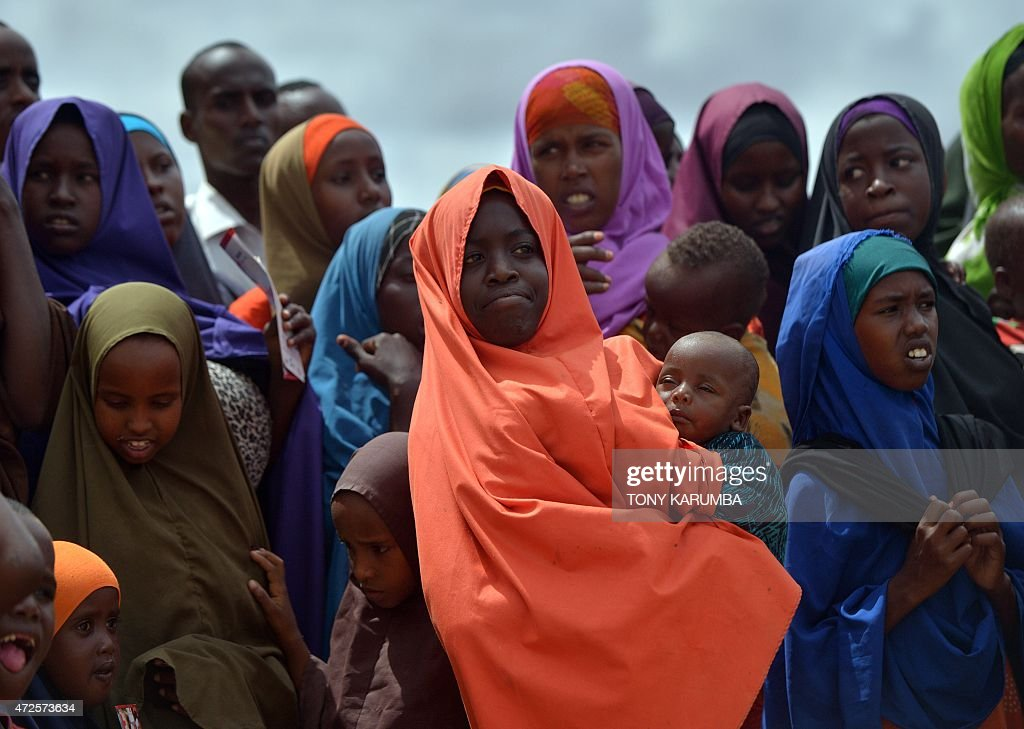 Refugees gather to watch the arrival of United Nations High Commissioner for Refugees Antonio Guterres at IFO2 complex of the sprawling Dadaab...