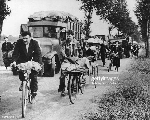 Refugees leaving Paris after the fall of France circa June 1940