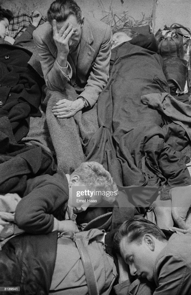 Refugees near the border between Austria and Hungary after the Soviet Army crushed the Hungarian Uprising, 14th December 1956.