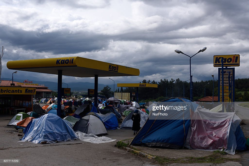 Refugees tents, located just next to the gas pumps, at the gas station of Hotel Hara, a roadside bungalow in the village of Evzoni, seven kilometres south of the Greek Macedonian border on May 3'rd, 2016. Hotel Hara, the sorroundings and the attached gas station are fully occupied with refugee tents.