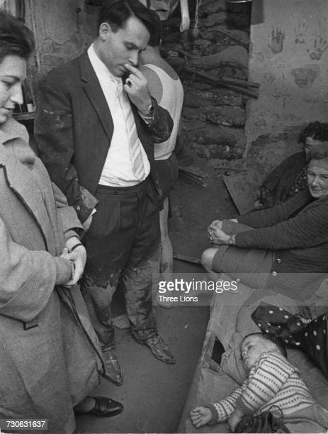 Refugees waiting at the basement exit of Tunnel 57 through which 57 East Berlin citizens escaped to the Western sector of the city on 3rd and 4th...
