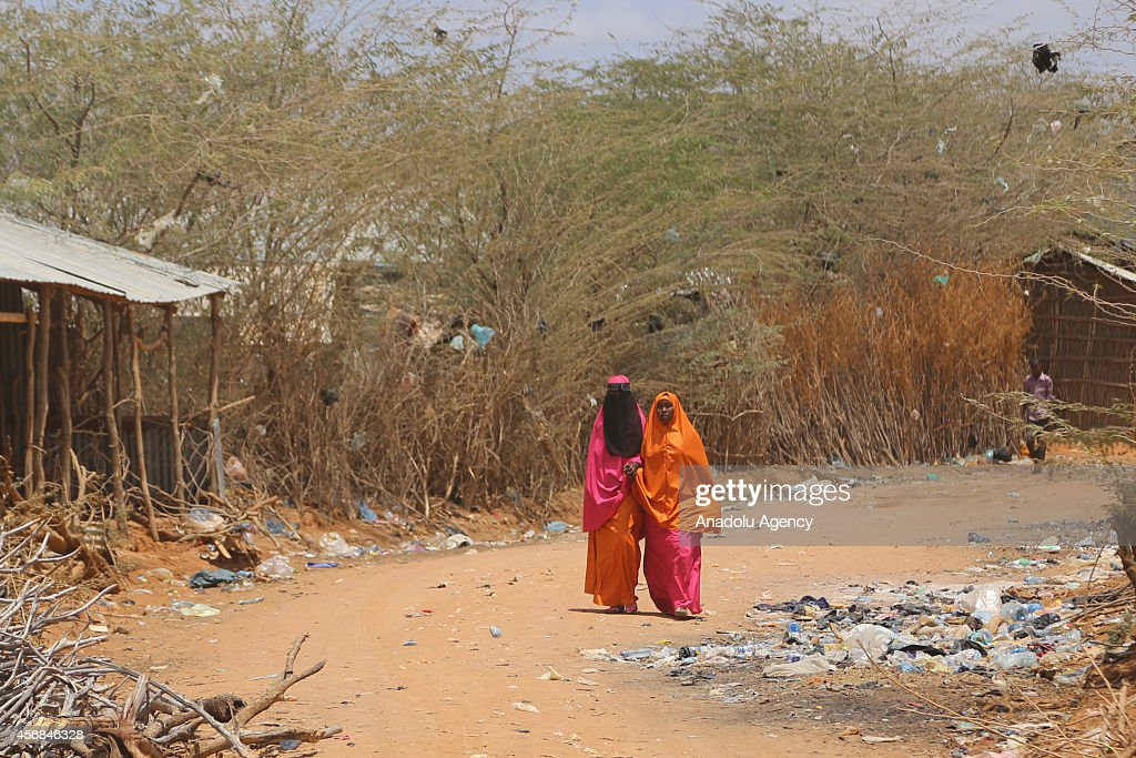 Refugees who live in Dadaab refugee camp face water crisis and walk to supply water in Nairobi Kenya on 4 October 2014