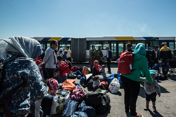 Migrants willing to leave the Pireaus Harbour of Athens
