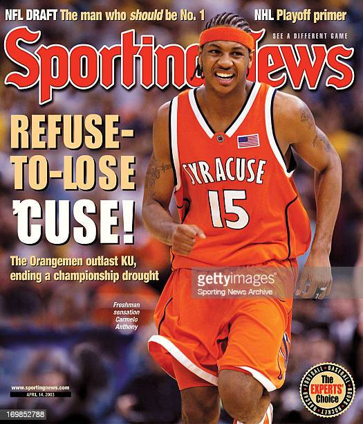 Syracuse Orangemen Carmelo Anthony National Champions April 14 2003 RefusetoLone 'Cuse The Orangemen outlast KU ending a championship drought