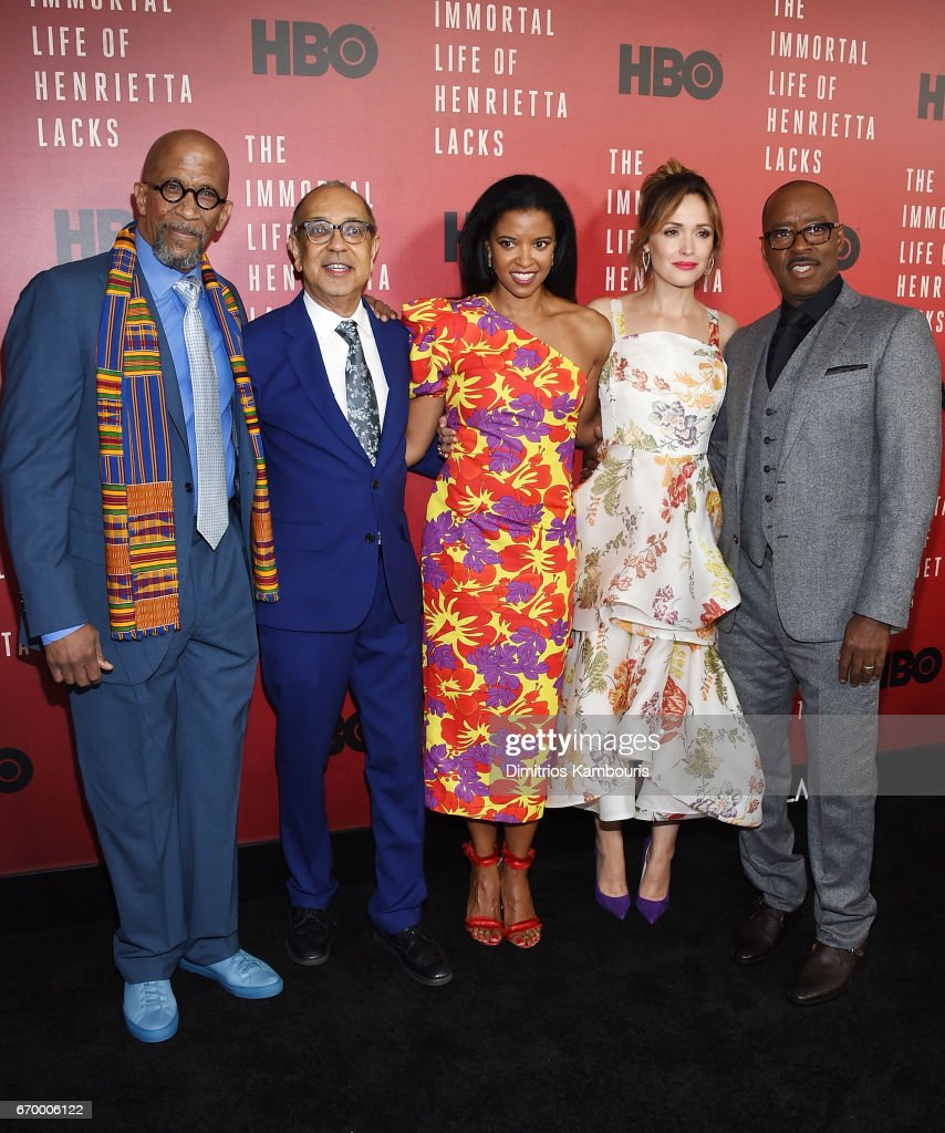 Reg E. Cathey, George C. Wolfe, Renee Elise Goldsberry, Rose Byrne and Courtney B. Vance attend 'The Immortal Life of Henrietta Lacks' premiere at SVA Theater on April 18, 2017 in New York City.