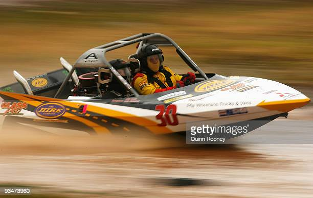 Reg Smith and Julie Smith of Australia compete in their boat Hireco Glasspro during the 2009 World Jetsprint Championships at the Melton Motorsports...