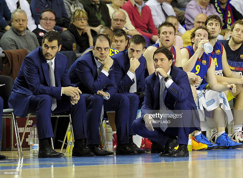 Regal Barcelona's coach Xavier Pascual (Bottom) looks on during the Euroleague basketball match Regal Barca vs Montepaschi at the Palau Blaugrana sportshall in Barcelona on January 31, 2013.