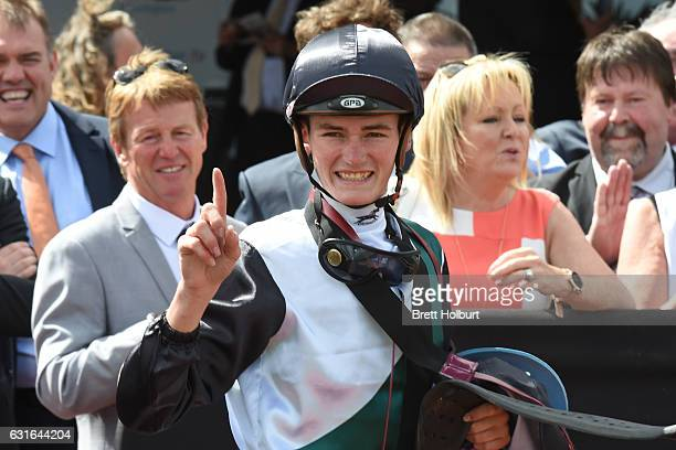 Regan Bayliss after winning Chester Manifold Stakes at Flemington Racecourse on January 14 2017 in Flemington Australia