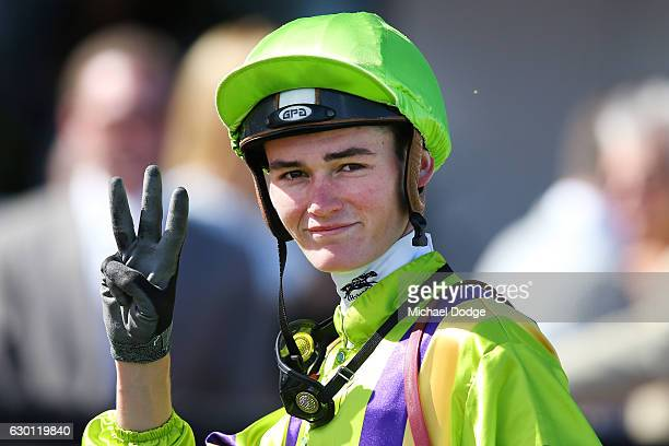 Regan Bayliss after winning on Flying Light in Tauto Handicap at Flemington Racecourse on December 17 2016 in Flemington Australia