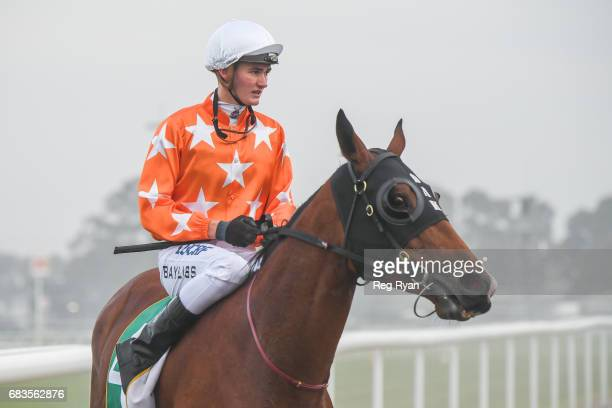 Regan Bayliss returns on Concubine after winning the Bet365 BM64 Handicap at Geelong Synthetic Racecourse on May 16 2017 in Geelong Australia