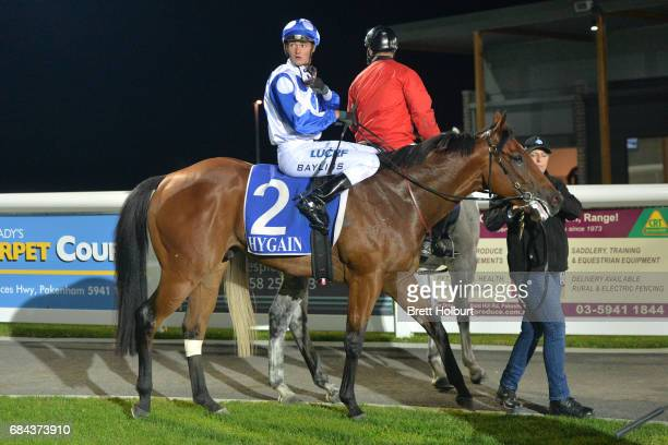 Regan Bayliss returns to the mounting yard on Global Rocket after winning Pakenham Mazda Maiden Plate at Racingcom Park Synthetic Racecourse on May...