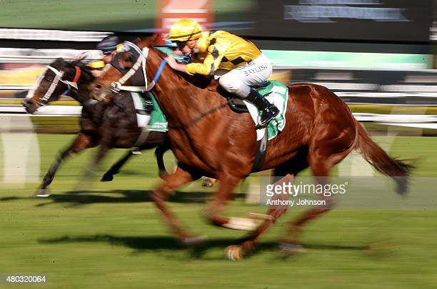 Regan Bayliss rides Noela's Choice to win race 3 The TAB Place Multi Handicap during Sydeny racing at Royal Randwick racecourse on July 11 2015 in...
