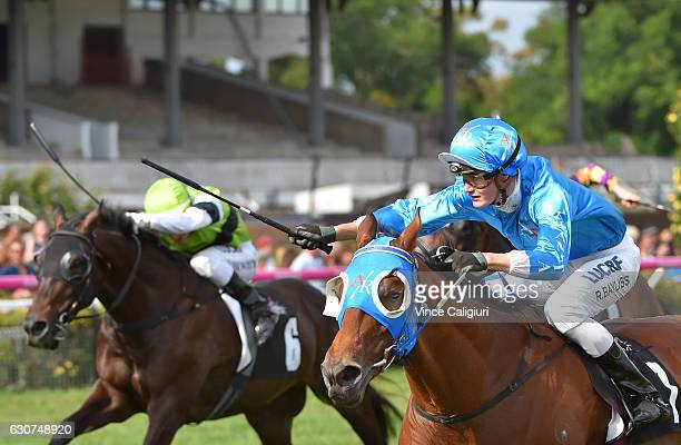 Regan Bayliss riding Annus Mirabilis wins Race 7 the Bagot Handicap during Melbourne Racing at Flemington Racecourse on January 1 2017 in Melbourne...