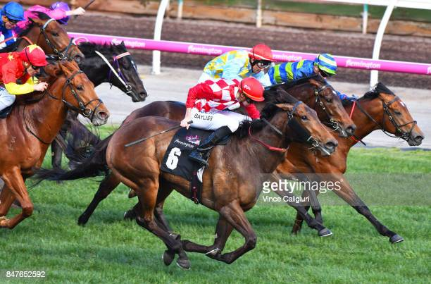Regan Bayliss riding Catchy wins Race 5 Danehill Stakes during Melbourne Racing at Flemington Racecourse on September 16 2017 in Melbourne Australia