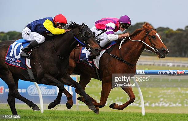Regan Bayliss riding Onpicalo defeats James Winks riding The New Boy in Race 9 during Melbourne racing at Sandown Hillside on December 6 2014 in...
