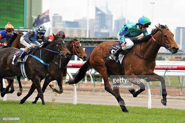 Regan Bayliss riding Reckless Assassin wins Race 3 the National Patient Transport Rising Stars Final during Melbourne Racing at Flemington Racecourse...