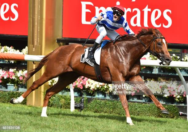 Regan Bayliss riding Redkirk Warrior wins Race 7 Lexus Newmarket Handicap during Melbourne Racing at Flemington Racecourse on March 11 2017 in...