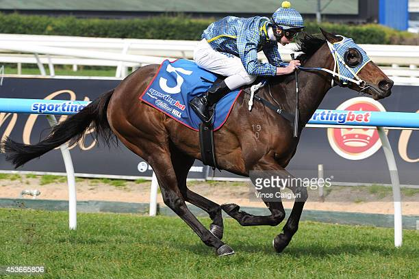 Regan Bayliss riding Spirit of Heaven wins Race 1 during Melbourne Racing at Caulfield Racecourse on August 16 2014 in Melbourne Australia