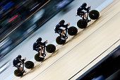 Regan Gough Dylan Kennett Pieter Bulling and Alex Frame of cycling team New Zealand on their way to winning the gold medal in the Mens Team Pursuit...