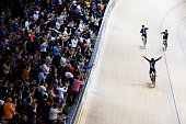 Regan Gough Pieter Bulling and Alex Frame of cycling team New Zealand celebrates after winning the gold medal in the Mens Team Pursuit during day 2...
