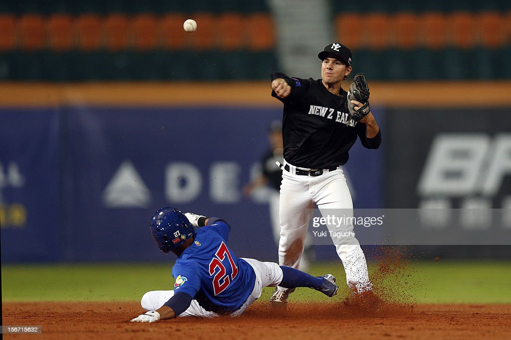 Regan Hoet #31 of Team New Zealand turns a double play as Devon Ramirez #27 slides into second to end the bottom of the eighth inning of Game 5 of the 2013 World Baseball Classic Qualifier against Team Philippines at Xinzhuang Stadium in New Taipei City, Taiwan on Saturday, November 17, 2012.