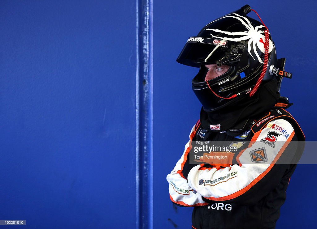 <a gi-track='captionPersonalityLinkClicked' href=/galleries/search?phrase=Regan+Smith&family=editorial&specificpeople=564271 ng-click='$event.stopPropagation()'>Regan Smith</a>, driver of the #7 Clean Coal Chevrolet, stands in the garage during practice for the NASCAR Nationwide Series DRIVE4COPD 300 at Daytona International Speedway on February 21, 2013 in Daytona Beach, Florida.