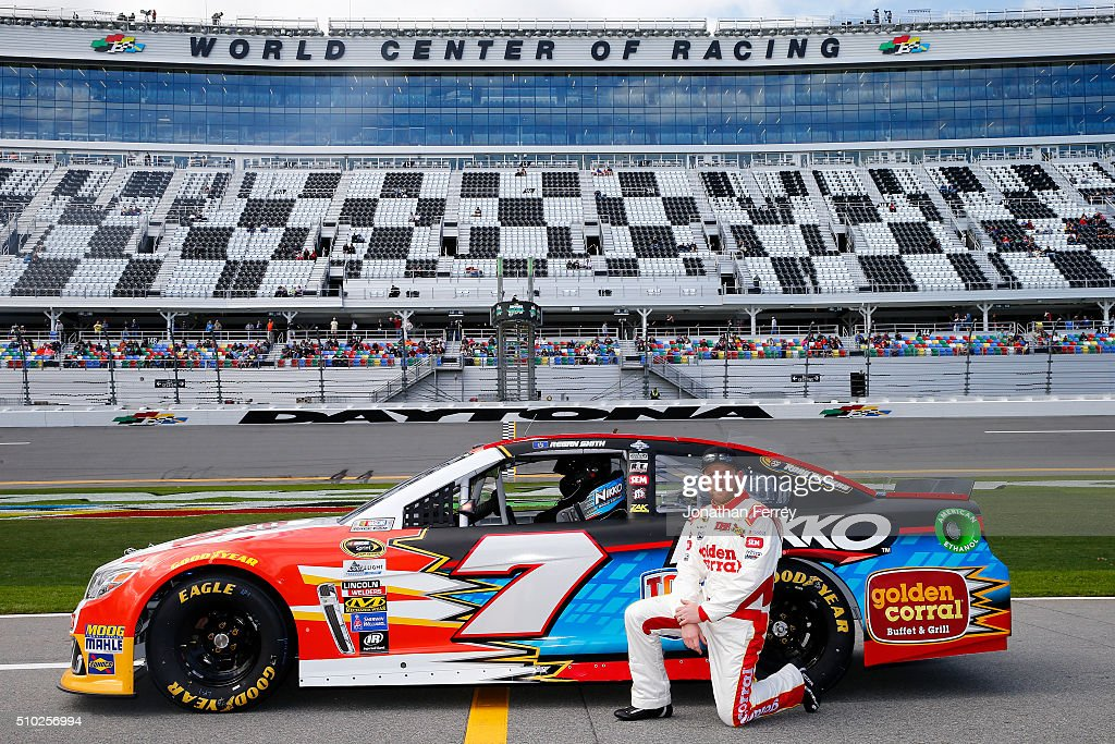 <a gi-track='captionPersonalityLinkClicked' href=/galleries/search?phrase=Regan+Smith&family=editorial&specificpeople=564271 ng-click='$event.stopPropagation()'>Regan Smith</a>, driver of the #7 Nikko RC/Golden Corral Chevrolet, poses with his car after qualifying for the NASCAR Sprint Cup Series Daytona 500 at Daytona International Speedway on February 14, 2016 in Daytona Beach, Florida.