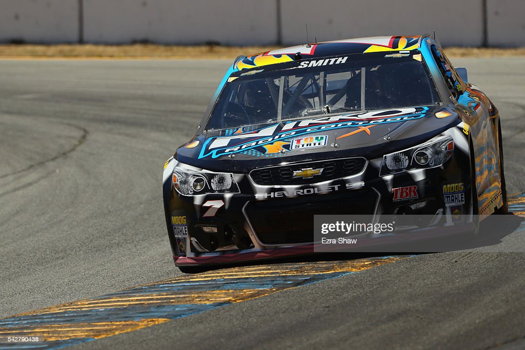 <a gi-track='captionPersonalityLinkClicked' href=/galleries/search?phrase=Regan+Smith&family=editorial&specificpeople=564271 ng-click='$event.stopPropagation()'>Regan Smith</a>, driver of the #7 Nikko RC/Road Rippers Monster Shark Chevrolet, practices for the NASCAR Sprint Cup Series Toyota/Save Mart 350 at Sonoma Raceway on June 24, 2016 in Sonoma, California.
