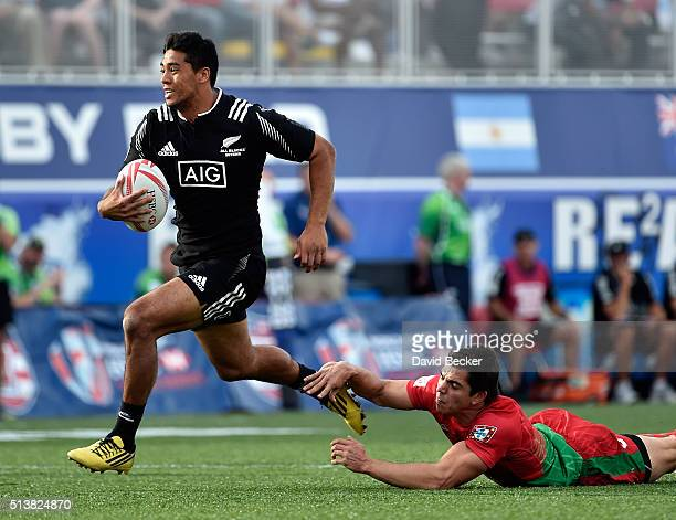 Regan Ware of New Zealand carries the ball against Portugal during the USA Sevens Rugby tournament at Sam Boyd Stadium on March 4 2016 in Las Vegas...