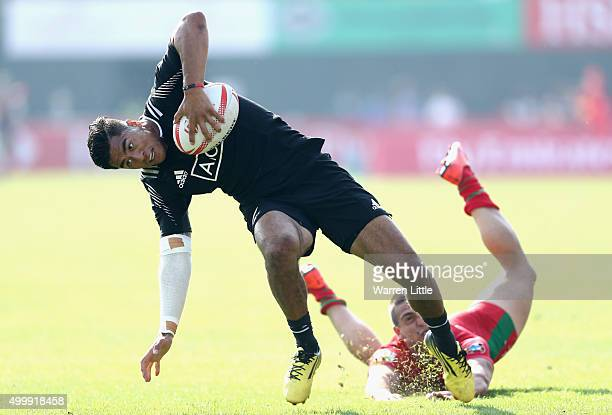 Regan Ware of New Zealand in action against Portugal during the Emirates Dubai Rugby Sevens HSBC World Rugby Sevens Series at The Sevens Stadium on...