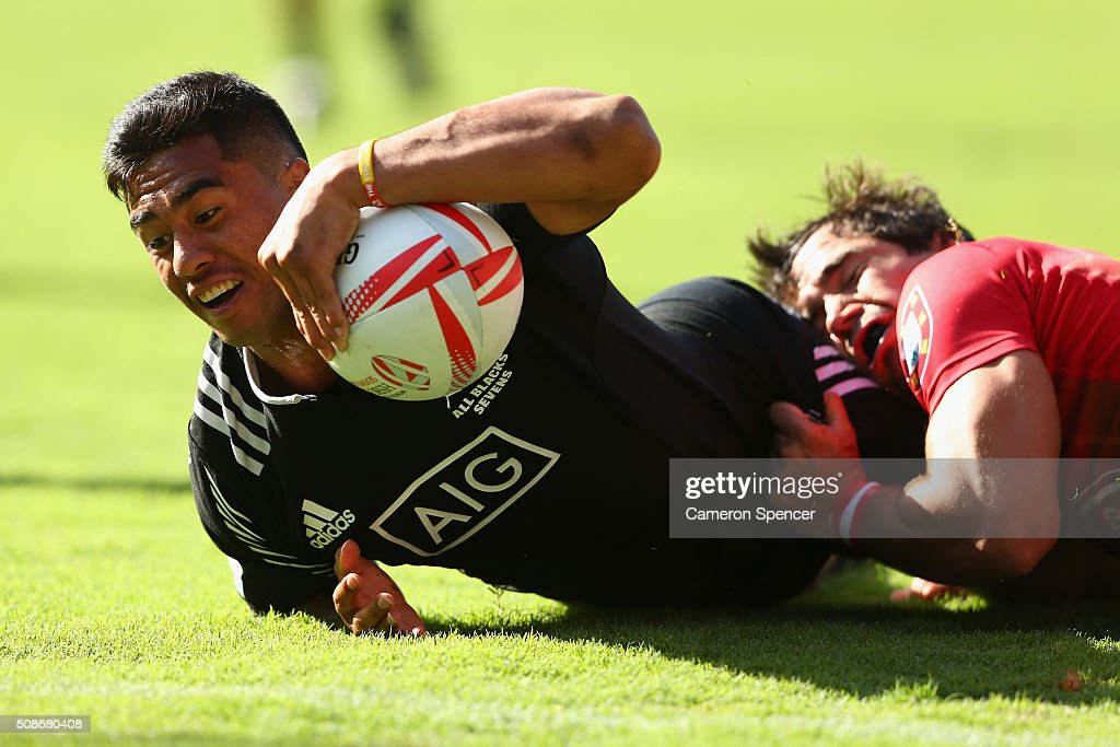 Regan Ware of New Zealand is tackled during the 2016 Sydney Sevens match between New Zealand and Portugal at Allianz Stadium on February 6, 2016 in Sydney, Australia.